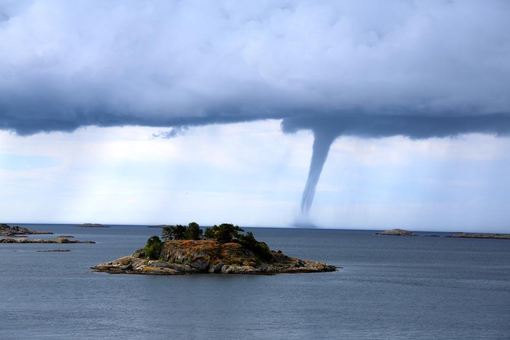 Tornado forming over the sea